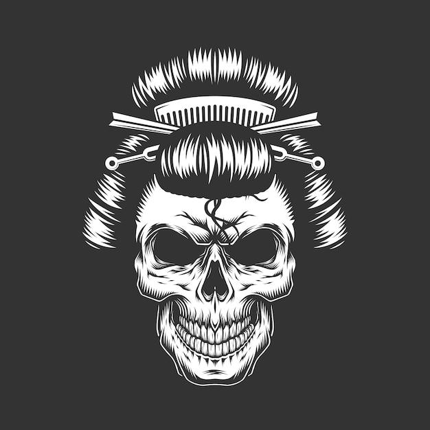 伝統的な髪型とヴィンテージの芸者の頭蓋骨 無料ベクター