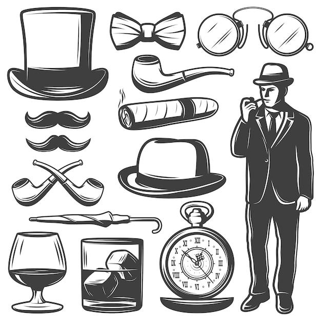ヴィンテージ紳士要素セット 無料ベクター