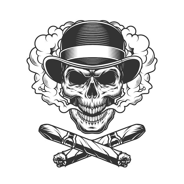 Vintage gentleman skull in fedora hat Free Vector