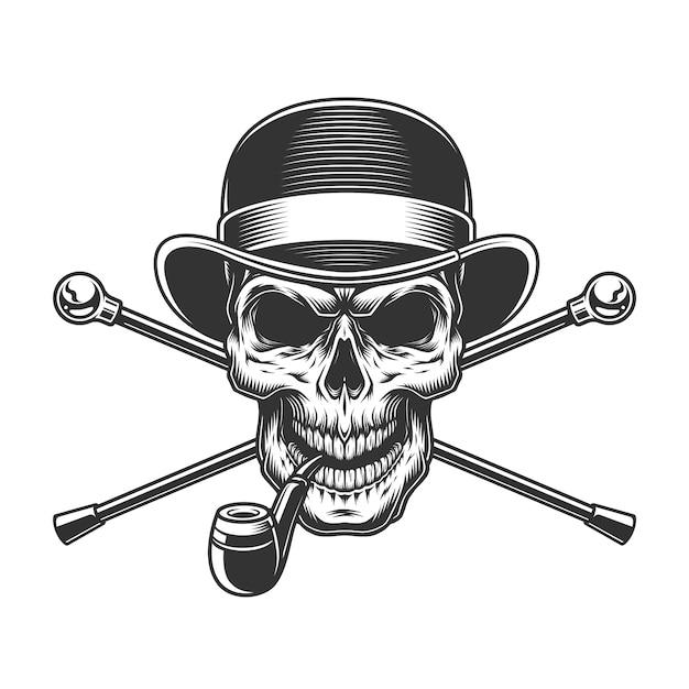 フェドーラ帽のヴィンテージ紳士の頭蓋骨 無料ベクター