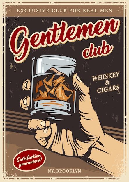 Vintage gentlemen club advertising template Free Vector