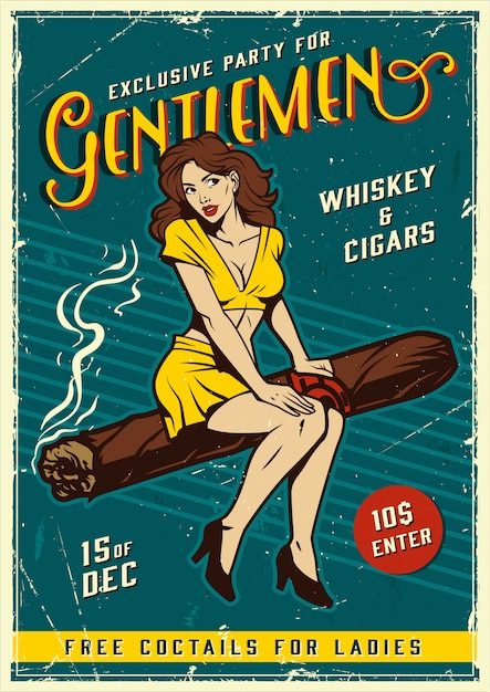 Vintage gentlemen party poster with pin up girl Free Vector