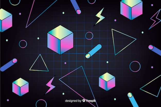 Vintage geometric background with cubes Free Vector