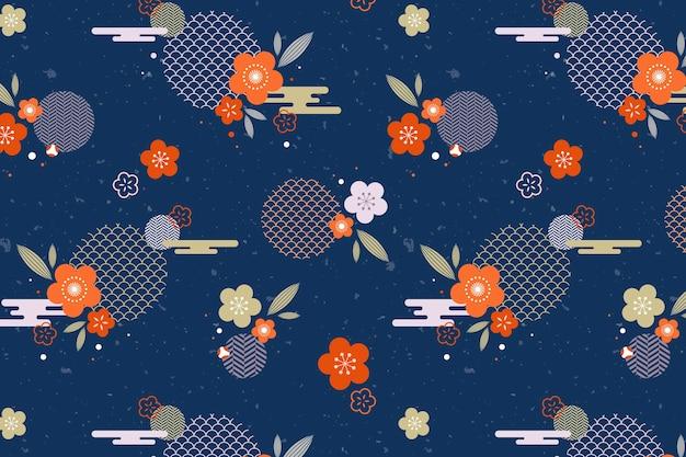 ヴィンテージの幾何学的な梅の花のパターン 無料ベクター