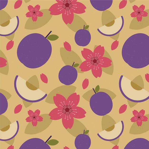 빈티지 기하학적 매화 열매와 꽃 패턴 무료 벡터