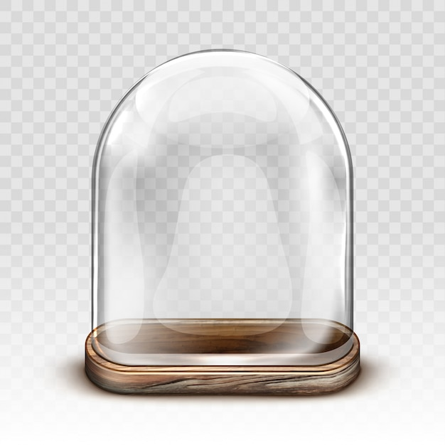 Vintage glass dome and wooden tray realistic Free Vector