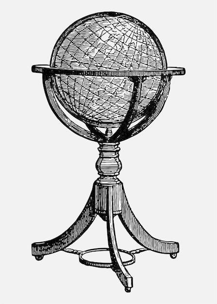 Vintage globe stand illustration Free Vector
