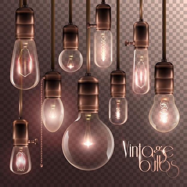 Vintage glowing light bulbs transparent set Free Vector