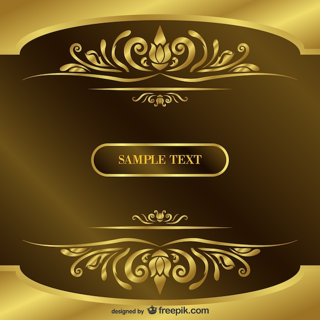 Vintage gold Background with text Free Vector