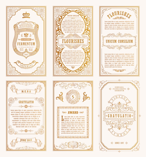 Старинные золотые карты и рамки Premium векторы