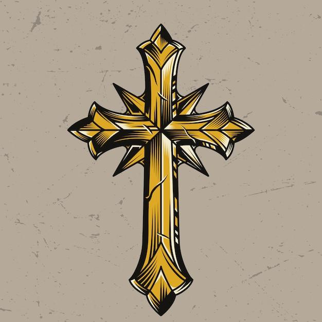 Modello trasversale religioso elegante dell'oro dell'annata Vettore gratuito