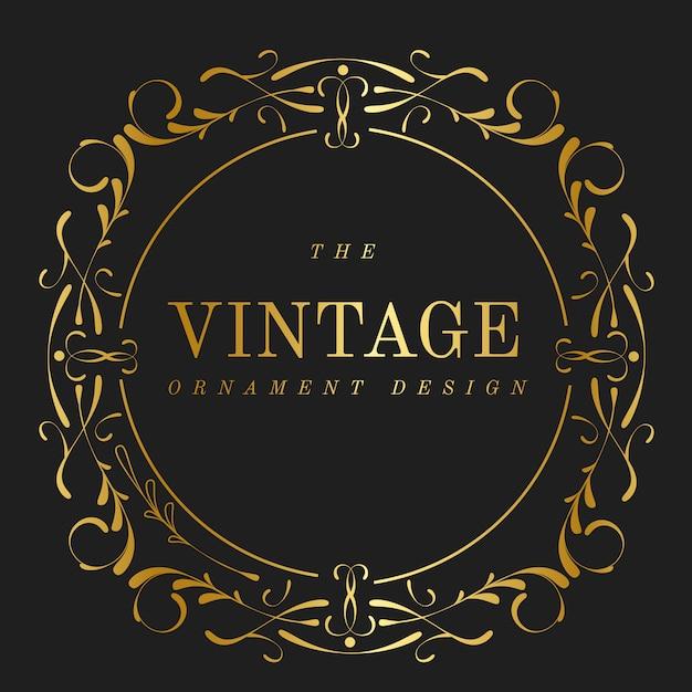 Vintage golden art nouveau badge vector Free Vector