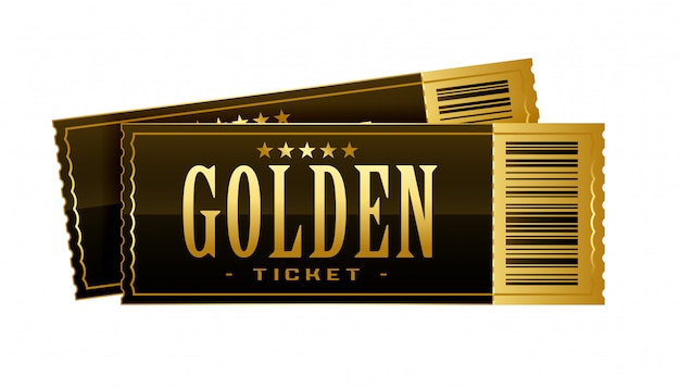 Vintage golden cinema tickets movie pass template Free Vector