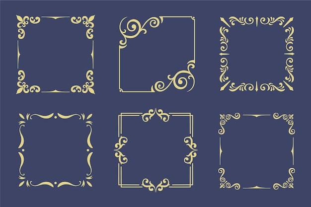 Коллекция старинных золотых рамок Premium векторы