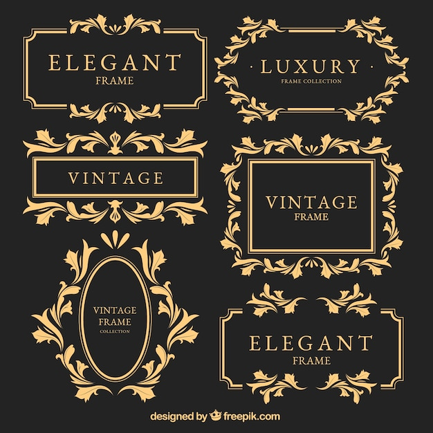 Vintage golden frames set Free Vector