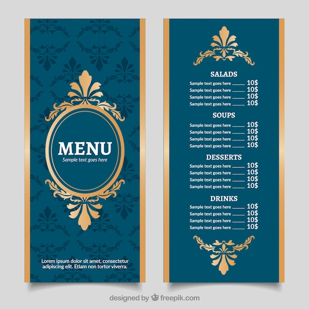 Vintage Golden Menu Template With Baroque Style Vector