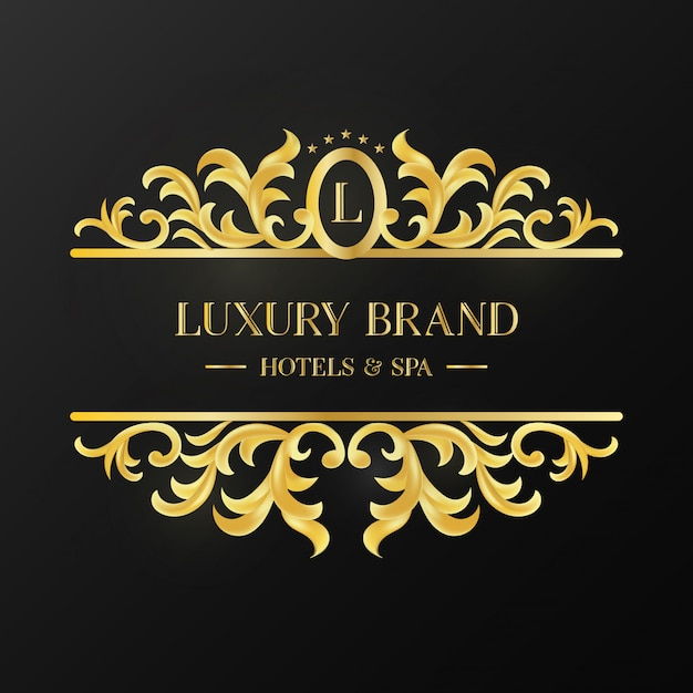 Vintage Golden Ornament Logotype of Luxury Brand Free Vector
