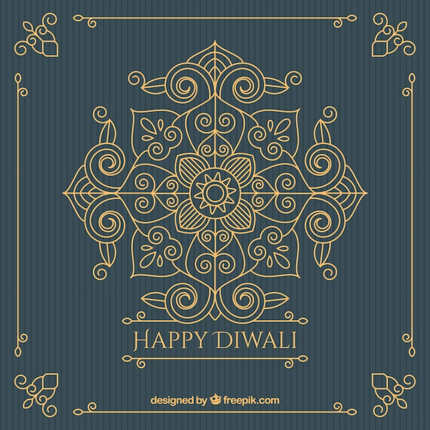 Vintage golden ornamental background of diwali Free Vector