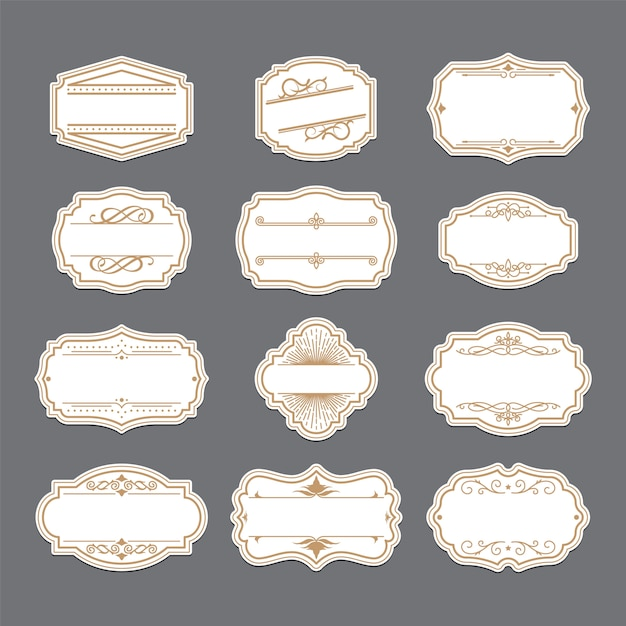 Набор старинных золотых декоративных этикеток Бесплатные векторы