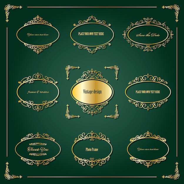 Vintage golden oval frames and borders set Premium Vector