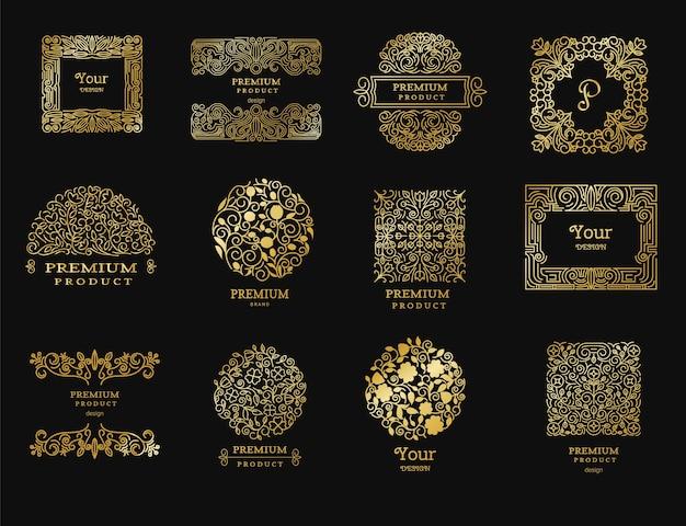 Vintage golden retro logos Premium Vector