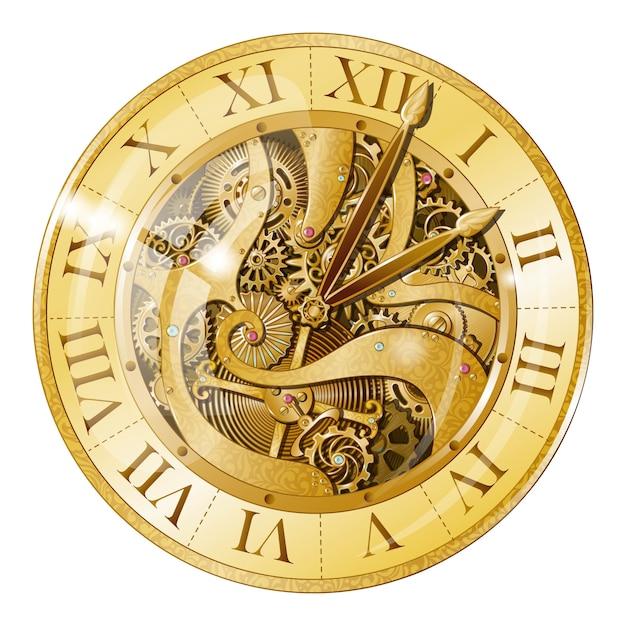 빈티지 황금 시계 그림 무료 벡터