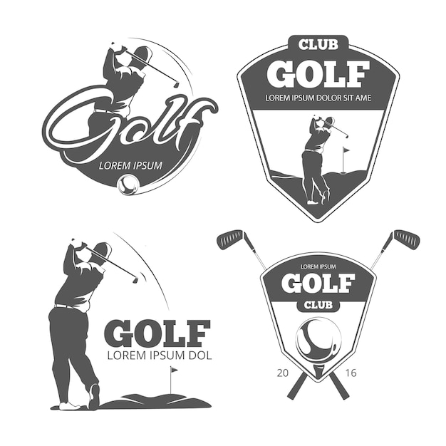 Vintage golf vector labels, badges and emblems. sport sign icon, club game illustration Premium Vector