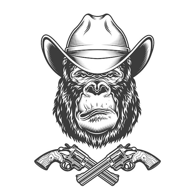 Vintage gorilla head in cowboy hat Free Vector