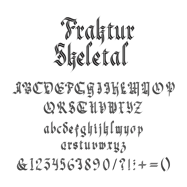 Vintage gothic font Free Vector