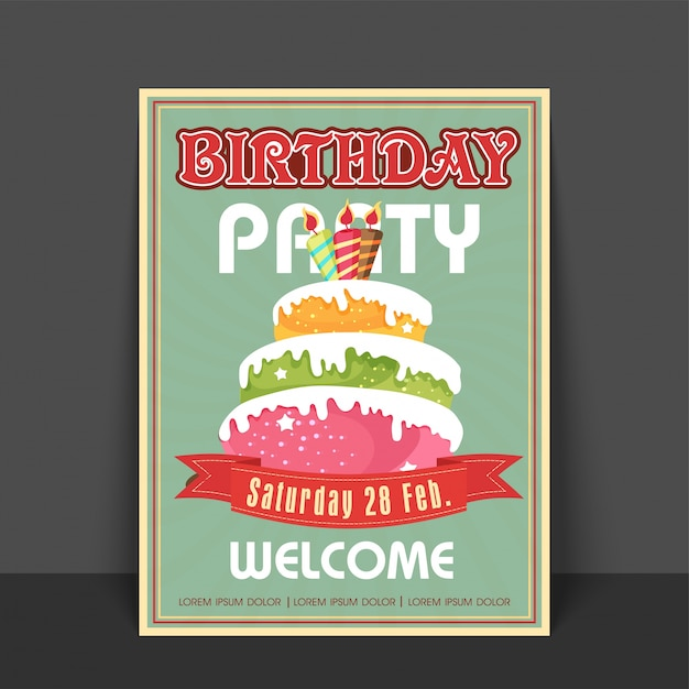 Download Vector Vintage Greeting Card Or Welcome Card Design With