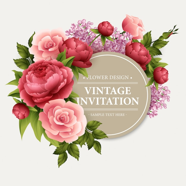 Vintage greeting card with blooming flowers. Premium Vector