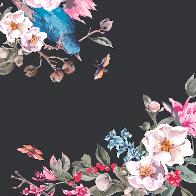 ピンクの花、カブトムシ、鳥とビンテージグリーティングカード Premiumベクター