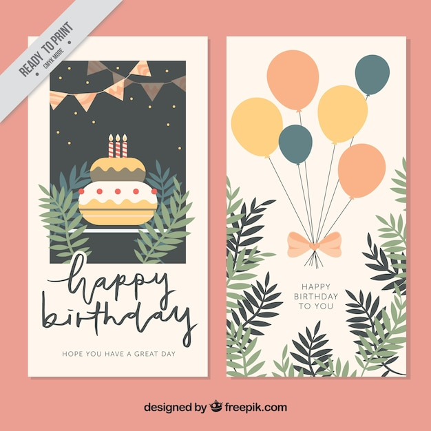 Happy Birthday Editable Card Free Vector Download 15 733: Vintage Greeting Cards With Cake And Balloons Vector
