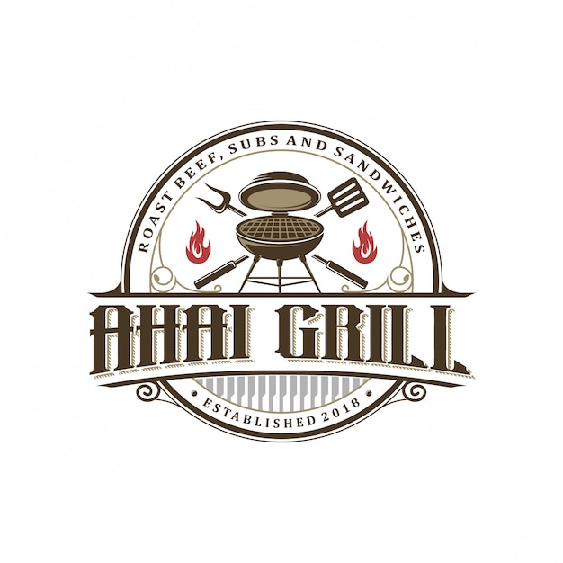 Vintage grill logo Premium Vector