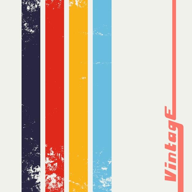 Vintage grunge background with color stripes Premium Vector