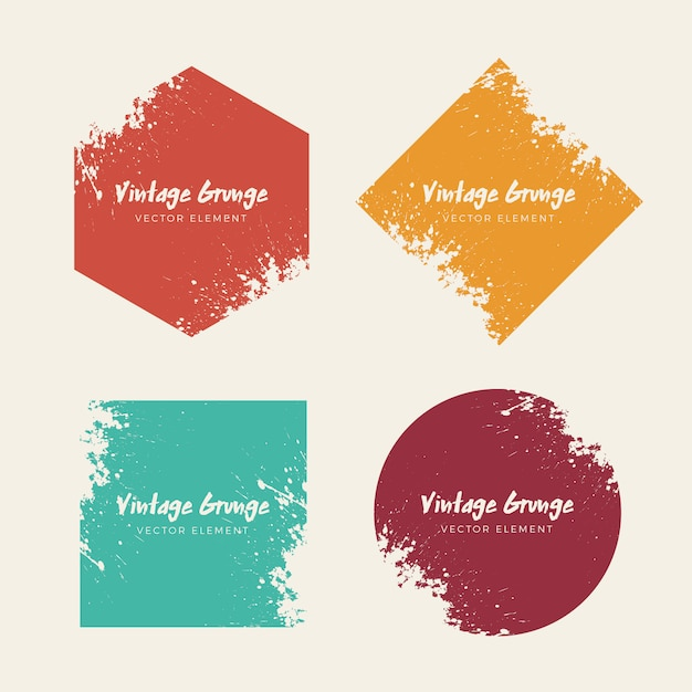Vintage grunge distressed backgrounds shapes collection Free Vector