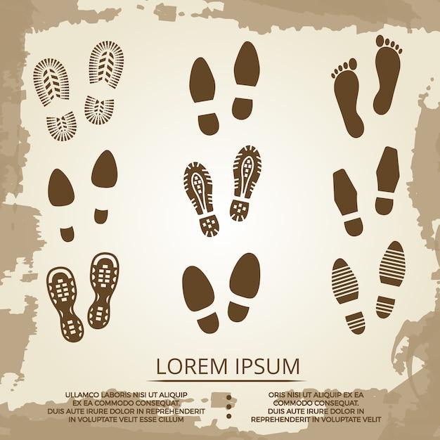Vintage grunge footsteps poster design Premium Vector
