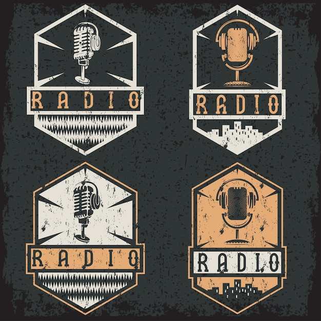 Vintage grunge labels of radio with microphone and headphones Premium Vector