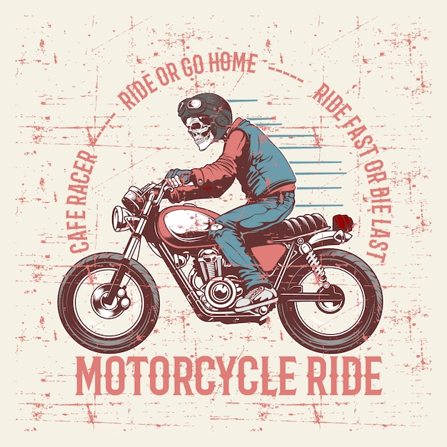 Vintage grunge style skull wearing helmet and text cafe racer hand drawing Premium Vector