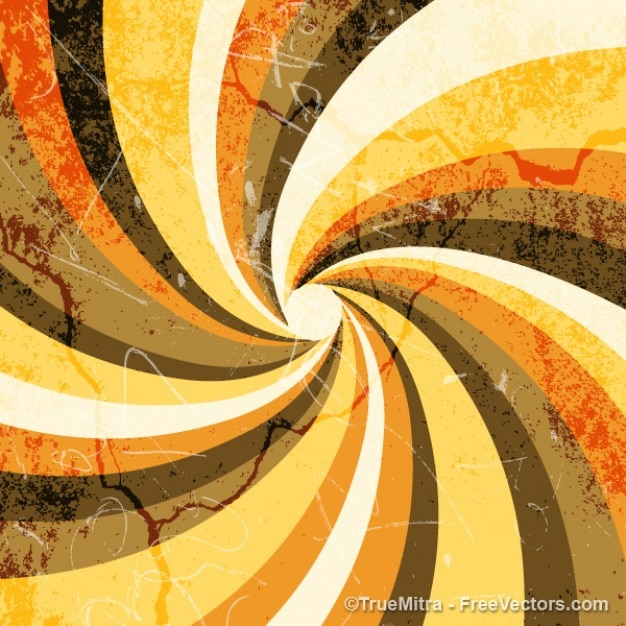 Vintage grunge sunburst background spiral orange brown yellow Free Vector