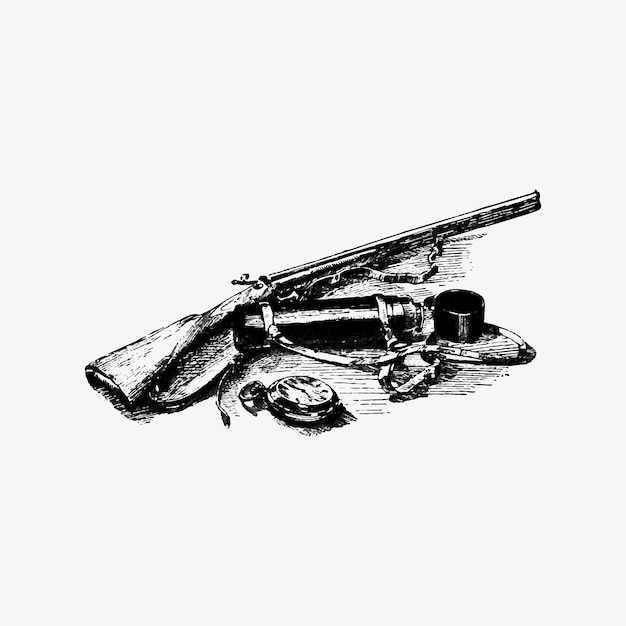 Vintage gun and accessories Free Vector