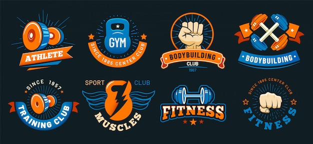 Vintage gym emblem. athlete muscles, fitness and bodybuilding labels. sport signs vector set Premium Vector