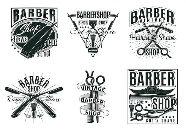 Vintage hair saloon labels set Premium Vector