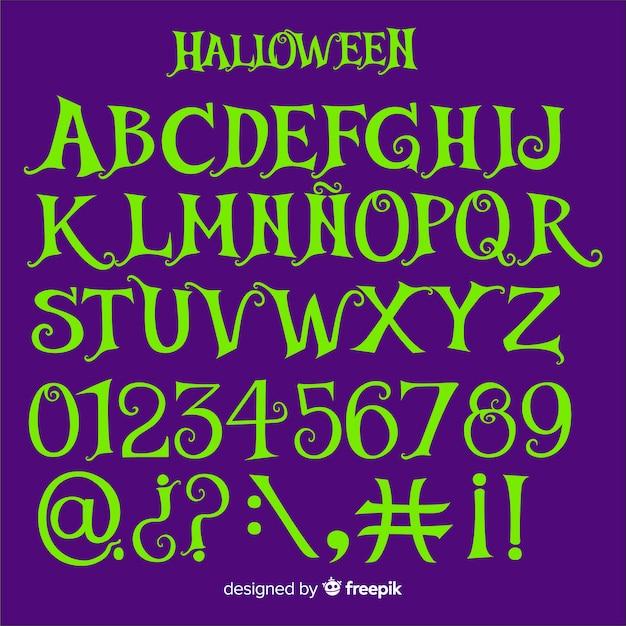 Vintage halloween alphabet Free Vector