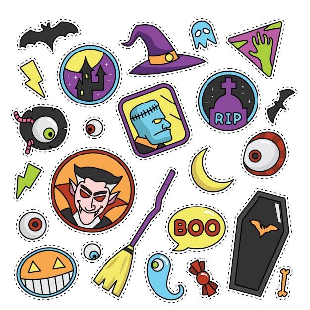 Vintage halloween fashion patch illustration Premium Vector
