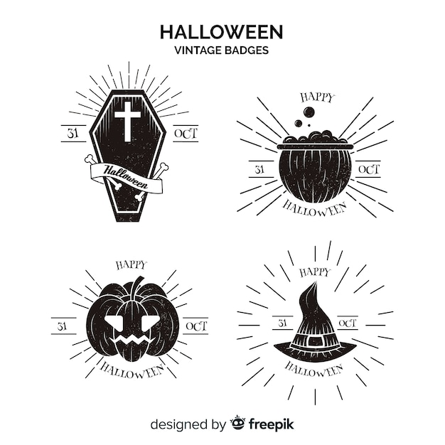 Vintage halloween labels collection in black and white Free Vector