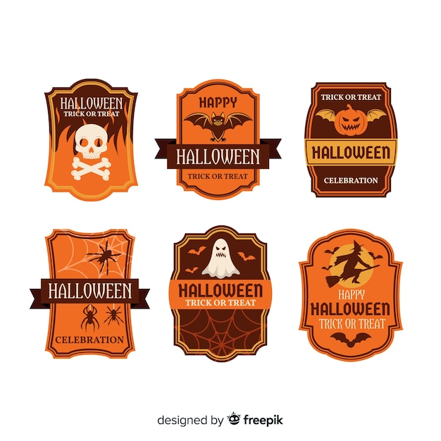 Vintage halloween labels collection Free Vector