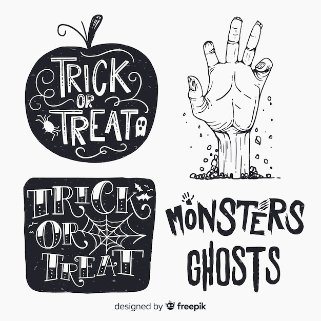 Vintage halloween labels set Free Vector