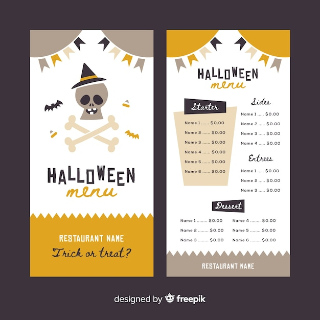 vintage halloween menu template vector free download