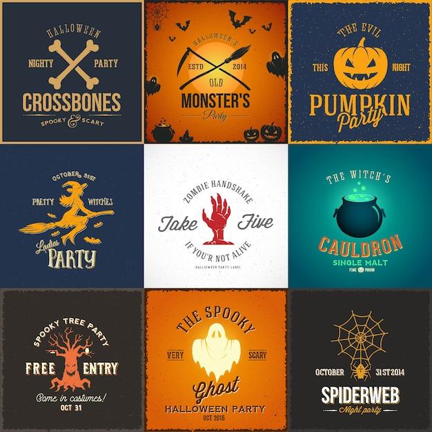 Винтажные карты партии хэллоуина, этикетки или набор логотипов. Бесплатные векторы